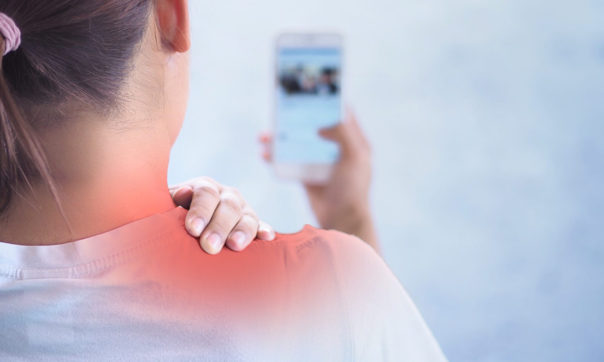 Are Digital Devices the Cause of Your Neck and Back Pain?; Pain in the shoulder area , Because holding the phone for a long time.