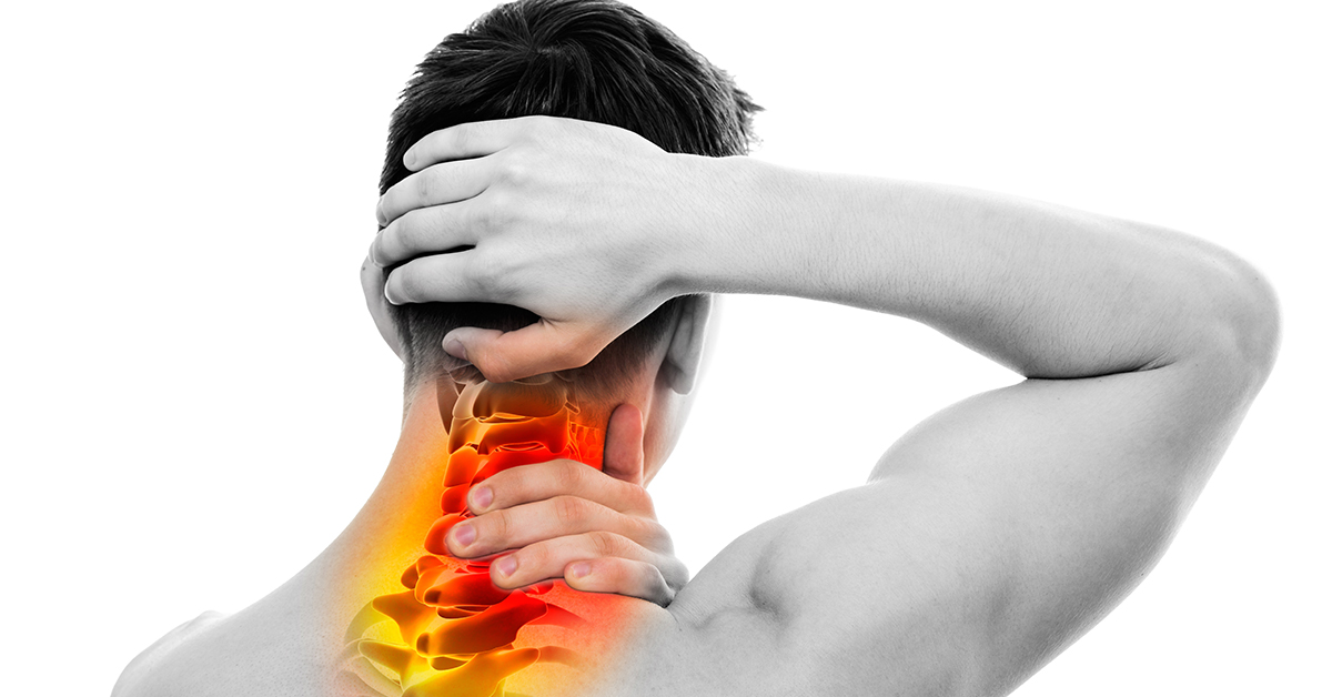 Neck Pain - Male Anatomy Sportsman Holding Head and Neck - Cervical Vertebrae Area - isolated on white; blog: neck sprains and strains